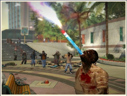Zombie eating a firework..... involuntarily.